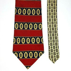 Tommy Hilfiger Silk Tie Red Navy Gold Yellow